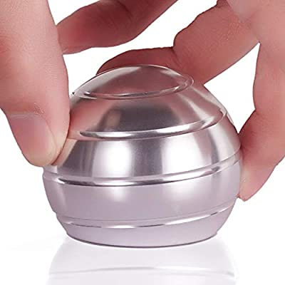 DESDK Office Stress Relief Gadgets Metal Kinetic Spinning Desk Toy New Version Fidget Toy Ball for Adults & Kids Anti Anxiety ADHD Autism Stress Reliever Inspire Creativity (Silver) by DESDK