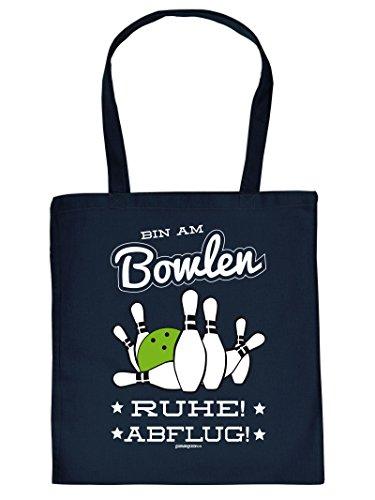 Hammer geile Baumwolltasche mit Aufdruck - Bin am Bowlen RUHE ABFLUG - coole Hipster Tasche für Bowling Fans Tragetasche Einkaufstasche