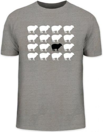 Shirtstreet24, SCHWARZES Schaf, Herren T-Shirt Fun Shirt Funshirt, Größe: 3XL,Graumeliert