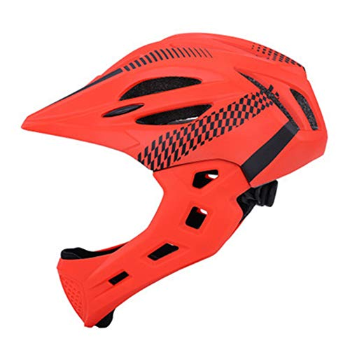 Zchui Children's Cycling Helmet, Mountain Bike Cycle Cycling Bicycle Helmet | Detachable Full Face Chin Protection Balance Bicycle Safety Helmet with Rear Light & Breathable Holes for Boys Girls