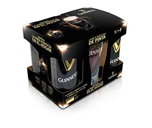 Guinness Draught Cerveza Negra Irlandesa, Pack con Vaso - 5 Latas de 440 ml