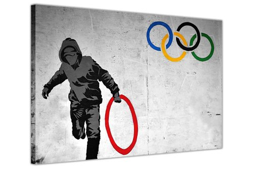 BANKSY PICTURES CANVAS WALL ART PRINTS THUG STEALING OLYMPIC RING PHOTO PRINTING HOME DECORATION STREET ART GRAFFITI