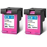 Cartucho de tinta 650XL, repuesto de alto rendimiento para HP Deskjet Ink Advantage 1015 1515 2515 2545 2645 3515 3548 4645 4518 impresora negra y tricolor 2 tricolor