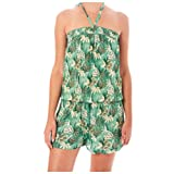STAR MELA - Gia Print Midi Playsuit | Flowy Floral Modest | Casual Jumpsuit Fit | Wear in Spring & Summer | Ruffle Casual Outfits | Strapless and Sexy in Green Color Extra-Small Size.