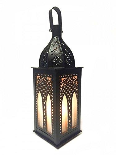 Orientalische Laterne aus Metall & Glas Asrar 29cm   orientalisches Windlicht   Marokkanische Glaslaterne für innen   Marokkanisches Gartenwindlicht für draußen als Gartenlaterne