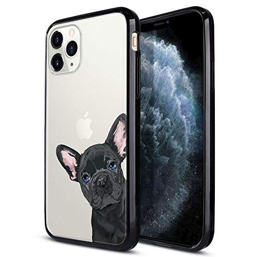 FINCIBO Case Compatible with Apple iPhone 11 Pro Max 6.5 inch, Slim TPU Bumper + Clear Hard Protective Case Cover for iPhone 11 Pro Max (NOT FIT 11 Pro) - French Bulldog Puppy Dog Black Look for You