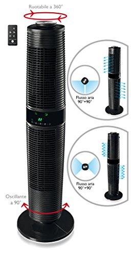 Macom Double Roto Wind Ventilator Multifunktionsgerät A Turm mit Drehzahl bidirektional, 45W, 56Decibel, Schwarz