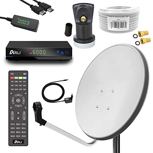 Digital Sat Anlage 60 cm Spiegel inkl. ARLI AH1 HD Receiver + Single LNB + 10m Koax Kabel + 2 F - Stecker vergoldet 1 Teilnehmer Set Camping Antenne lichtgrau Weiss 1 Teilnehmer