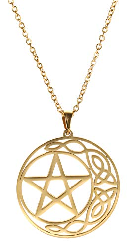cooltime Stainless Steel Pentacle Pendant Necklace Pentagram Celtic Knot Star Circle Crescent Charm Jewelry (Gold, Style 1)