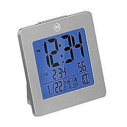Marathon Digital Desktop Clock with Nightowl Super Glow Backlight CL030050GG (Graphite Grey)