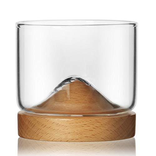 Wine Accessories - Taza de copa de vino de montaña de 5 onzas con taza de té chino de madera, vasos de whisky inferior, taza de té japonesa para el hogar (color: 3)