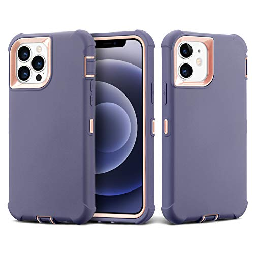 Case for iPhone 12/iPhone 12 Pro (6.1''), Full-Body Liquid Silicone Gel Soft Rubber Bumper Heavy Duty 3-Layer Shockproof Drop Protective Cover Cases for iPhone 12/12Pro 2020 (Linen Blue Grapefruit)