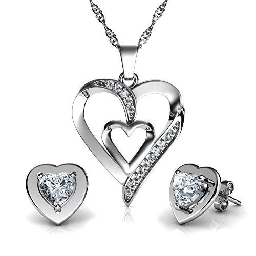 DEPHINI – Juego de collar y pendientes de corazón blanco – plata de ley 925 – pendientes de cristal y colgante de piedra de nacimiento – Juego de joyería fina para mujer