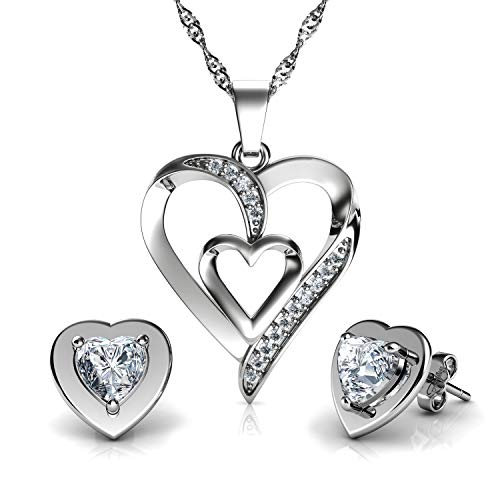 DEPHINI - Heart Necklace & White Heart Earrings SET - 925 Sterling Silver - Crystal Studs & Pendant Birthstone- Fine Jewellery set for women - 18' Rhodium Plated Silver Chain - Cubic Zirconia