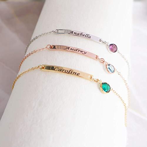 Delicate Birthstone Bracelet Engraved Bar Bracelet Custom Name Bracelet Birthday Gift Dainty Personalized Bracelet for Women Handmade Amazon Bracelet
