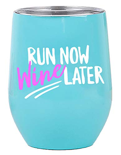 Gifts for Runners - Wine Tumbler/Mug 12oz Cup with Lid for All Drinks - Funny Gift idea for Half Marathon Runner, Mom, Cross Country Running, Glass, Women, 5k, Men, Female