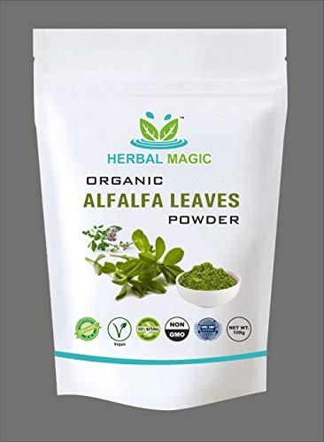 Herbal Magic's Certified Organic Alfalfa Leaf Powder 100g - Rich in Vitamin C A Calcium. Aromatherapy Oil Free with Every Bundle (Alfalfa Leaf Powder - Pack 1)