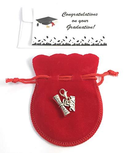 Libby's Market Place Diploma de graduación 2020 - Abalorio de clip con bolsa de regalo de terciopelo y tarjeta de regalo de graduación