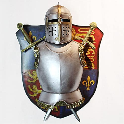 Juxmnnp Decoración de pared de hierro medieval decorado con armadura europea para sala de estar, fondo, escudo de pared, adorno creativo colgante