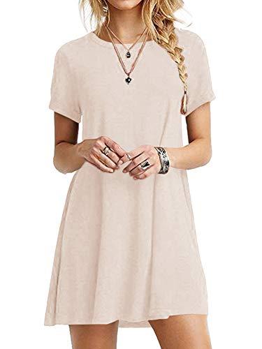 YOINS Sommerkleid Damen Tunika Tshirt Kleid Bluse Kurzarm MiniKleid Boho Maxikleid Rundhals ,Khaki,UK 20-22, CN XXL