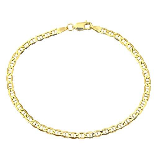 Bracciale in oro giallo 585 da 14 carati, design italiano, maglia marinara piatta, largo 3,10 mm e Oro giallo, colore: oro giallo, cod. Marinerarmband 14
