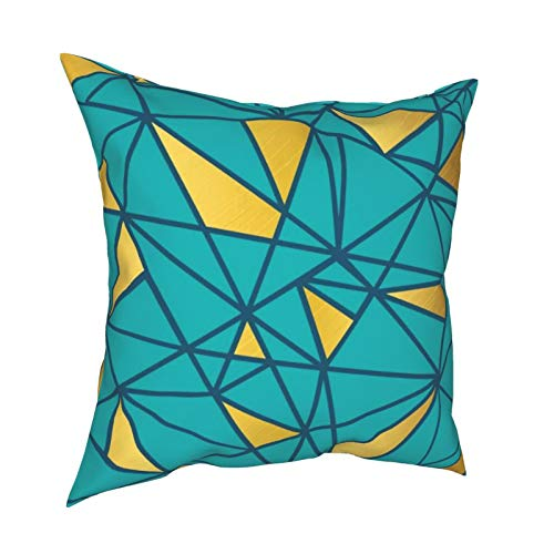 Funda de almohada geométrica azul turquesa y dorado con cremallera, funda de cojín para decoración diaria, funda de almohada lumbar para regalo en casa, sofá, cama, coche, 45,72 x 45,72 cm