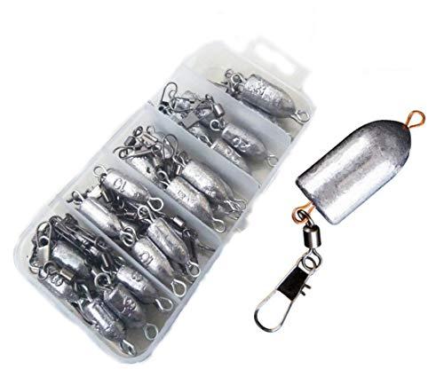 32 pcs Fishing Weights Bullet Lead Sinker Rolling Swivel with Interlock Snap Connector Inline 8-25g