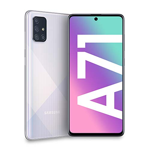 Samsung Galaxy A71 Smartphone, Display 6.7' Super AMOLED, 4 Fotocamere Posteriori, 128 GB Espandibili, RAM 6 GB, Batteria 4500 mAh, 4G, Dual Sim, Android 10, [Versione Italiana], Prism Crush Silver