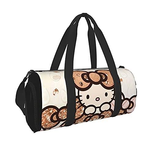 Hello Kitty Durevole Palestra Viaggio Viaggio Uomini Donne Duffle Bag Leggero con Tasca Interna Viaggio Sport