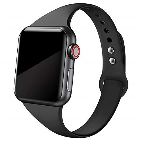 Ternzun Correa delgada para Apple Watch correa de 38 mm 44 mm suave de silicona deportiva wrsit correa pulsera iWatch series 5 4 3 se 6 40 mm 42 mm (38 mm o 40 mm, negro 34)