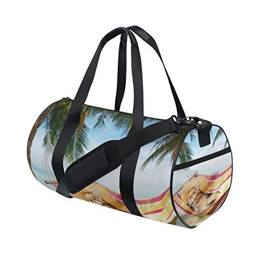 Gym Sports Bag Welsh Corgi Dog In Hammock Travel Duffel Bag for Men and Women