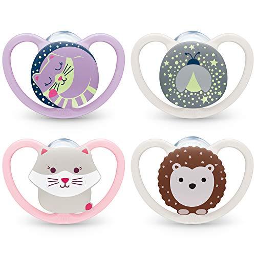 NUK Space chupetes para bebés noche y día | 0-6 meses | Chupetes que brillan en la oscuridad con ventilación adicional | Silicona sin BPA | Azul | 4 unidades