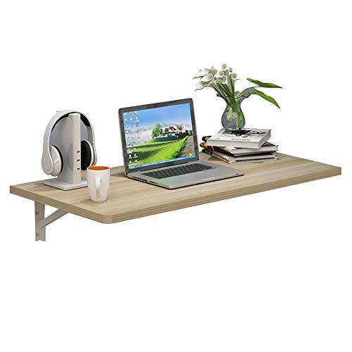 Houten tafel met planken en zwevende wandplanken, opklaptafel, draagvermogen 50 kg, aluminium steun (afmeting: 100x50 cm)