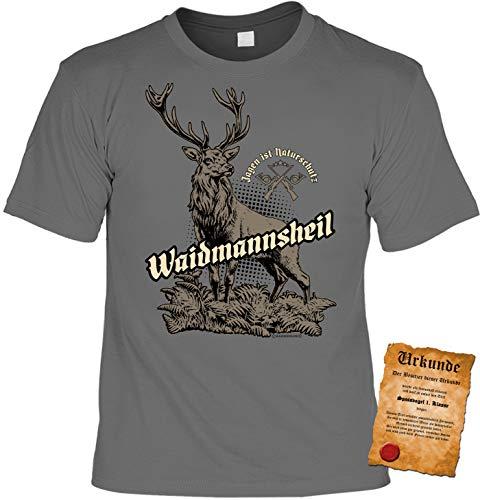 Jäger Tshirt, Spruch - Motiv Jagdsport : Jagen ist Naturschutz Waidmannsheil - Bekleidung Jäger, Jagd, Hirsch-Motiv Gr: L