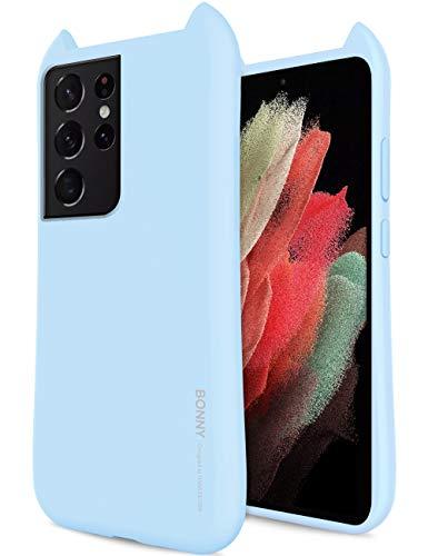 Qoosan Schutzhülle für Galaxy S21 Ultra, 3D-Design, Ohren, dünn, Gummi, TPU, Himmelblau