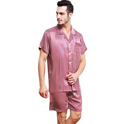 Herren Satin Schlafanzug kurz Weinrot 4XL