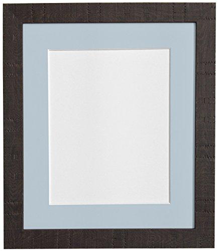 Frames BY POST 16 x 12 cm diep, korrel fotolijst, met passe-partout, blauw/grijs voor 30,5 x 20,3 cm, afbeeldingsgrootte, donkerbruin