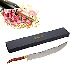 "THE BLADE - Hand forged by skilled artisans with a fine crafted design. About 1.5"" wide and 3mm thick. NOTE: The blade for Champagne Knife Opener are NOT designed SHARP. THE HANDLE - Hand cut and hand smoothed, 5.8""/15cm, delicated carved skilled art..."
