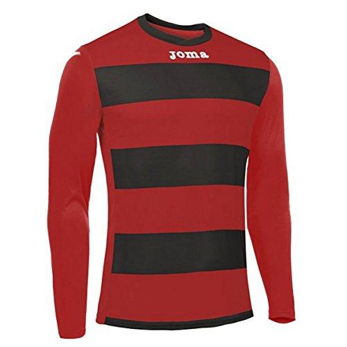 Joma Europa III Camiseta de Juego Manga Larga, Hombre, Negro/Rojo, 2XS