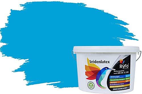 RyFo Colors Seidenlatex Trend Blautöne Azurblau 12,5l - bunte Innenfarbe, weitere Blau Farbtöne und Größen erhältlich, Deckkraft Klasse 1