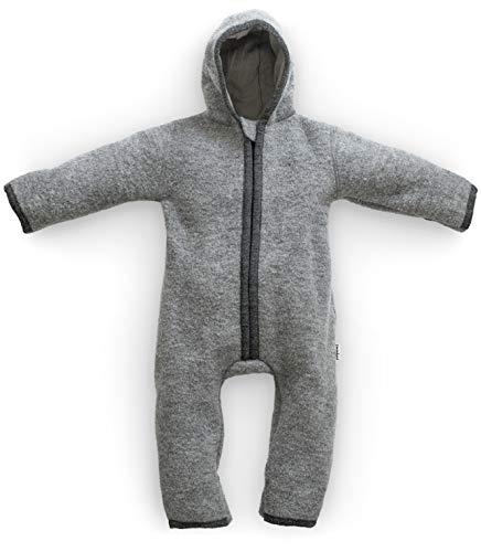 Ehrenkind® WALKOVERALL | Baby Wollwalk-Overalls aus Natur Schurwolle mit Reißverschluss | Walk Wolle Woll-Anzug für Kleinkind und Baby | Grau Gr. 62/68