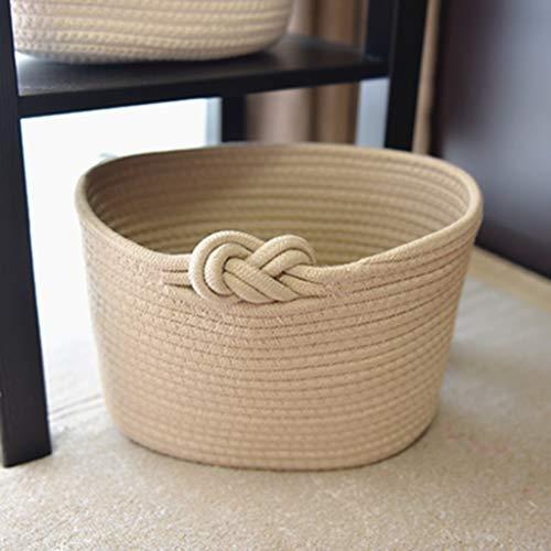 Leileixiao Cesta de almacenamiento de algodón, caja de almacenamiento de escritorio para aperitivos, juguetes, caja de almacenamiento tejida (color: multicolor)