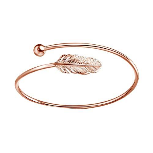 Pulsera para mujer, estilo vintage, ajustable, con plumas, oro rosa, regalo para hermana, amiga y mamá