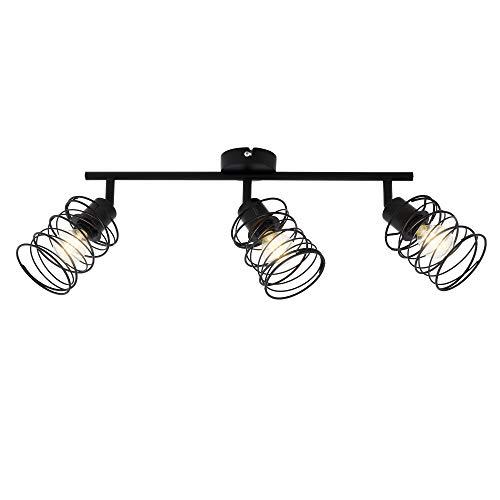 Briloner Leuchten - Spotleuchte, Deckenspot 4-flammig, Deckenlampe retro, vintage, Strahler dreh- und schwenkbar, Black Steel, 4xE14, max. 40 Watt, Metall, Schwarz