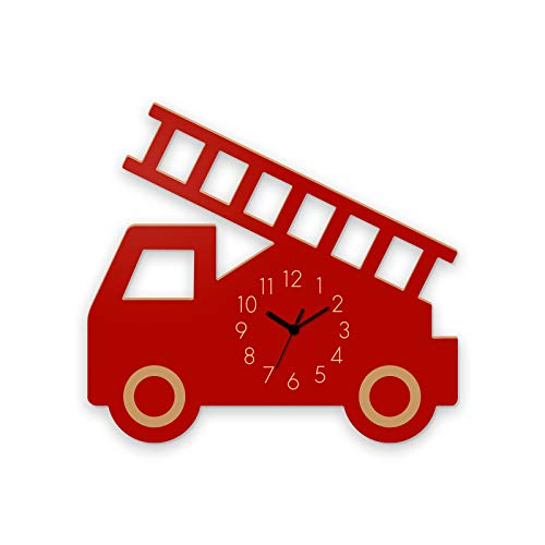 YOURLIVINGART 3D-Wanduhr für Kinder mit Darstellung eines Feuerwehrautos, leise, batteriebetrieben, dekorative Holz-Wanduhr, für das Kinderzimmer, Klassenzimmer, Zuhause oder die Schule, rot