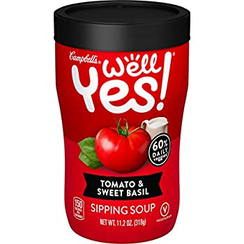 Campbell s Well Yes! Sipping Soup Vegetable Soup On The Go Tomato & Sweet Basil 11.2 Oz Cup