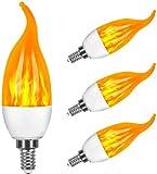 Bombillas de llama Vela, Swonuk 3 Modo de luz Regulable Edison Filamento LED, 3 W E14 Vidrio Matte Bombillas para Hogar, Jardín, Restaurantes, Fiesta(4 piezas)