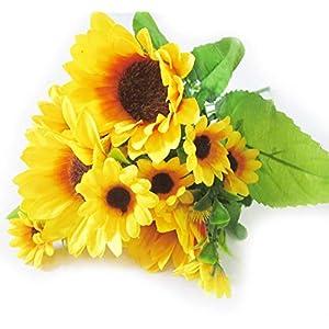 Artfen Artificial Sunflower Bouquet 1 Bunch Artificial Silk Flower Plant Home Hotel Office Wedding Party Garden Craft Art Decor 13 inch High