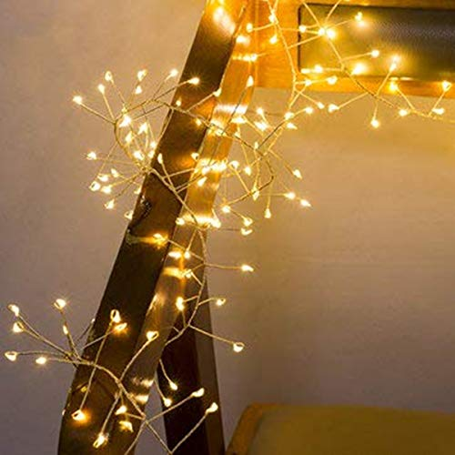 CCILAND Remote Garland String Lights for Bedroom,LED Cluster Light Battery Operated with Timer,8 Mode,Dimmable Wedding Party Decor Light for Tree Vase Window (9.8ft,200 Warm White LED,Silver Wire)