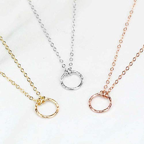 KARMA CIRCLE Delicate Pure Minimalist Plain 14k gold filled cable chain with hammered Balance Circle Gold